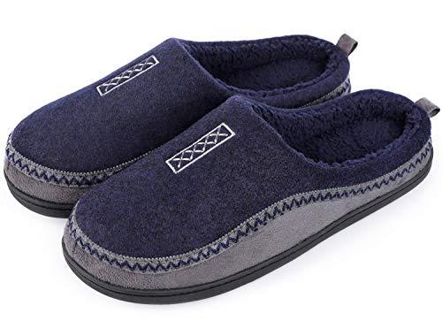 HomeTop Men's Indoor/Outdoor Wool Cross Decor Slip On Memory Foam Clog House Slippers (US Men's 11-12, Navy Blue)