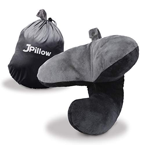 J-pillow Travel Pillow Neck Support, Head Support and Chin Support Pillow - British Invention of the Year - Travel Pillow for Airplanes, Cars, Trains - Great for use at Home - Machine Washable