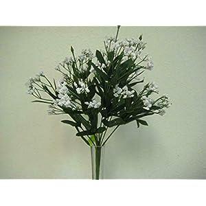 "Silk Flower Arrangements 17"" Inch Fille White Gypsos Baby Breath Bush Artificial Foam Flowers"