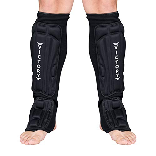 Kickboxing, Muay Thai MMA Martial Arts Shin Guards, Instep Guard Sparring Protective Leg Shin Foam Kick Pads for Kids and Adults (Large)