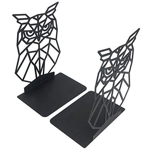 Invernadero para libros, color negro, cuña de metal, sujetalibros, organizador de escritorio de estantería de almacenamiento de libros antideslizante Black Owl Bookends