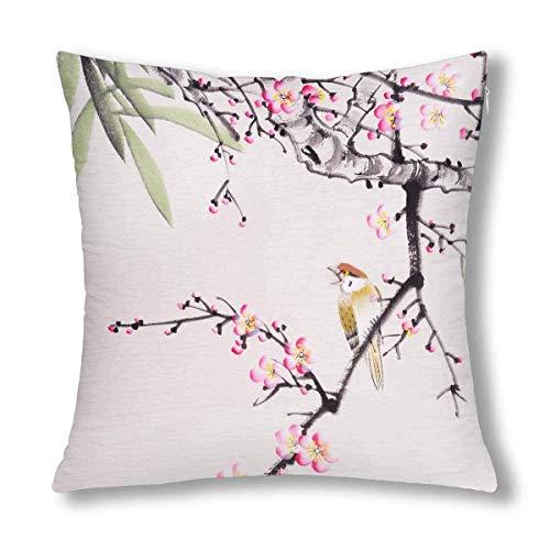 GOSMAO Pintura Tradicional China de Flores y decoración de pájaros, cojín, Funda de Almohada, Protector de Funda de Almohada de 18x18 Pulgadas