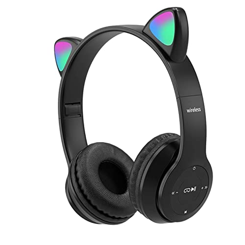B Blesiya Auriculares inalámbricos Cat Ear, Control de Volumen Plegable, Sonido Envolvente, luz LED, Auriculares con cancelación de Ruido con micrófono para TV, Negro