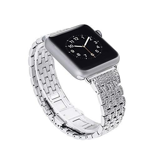 JIADUOBAO Correas para reloj Apple Watch Diamond Pulsera de metal para mujer (38 mm, 40 mm, 42 mm, 44 mm, Iwatch Series 5/4/3/2/1 (color: plata, tamaño: 42 mm)