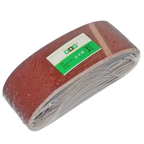 10 Stück HKB ® Schleifbänder,75x533mm, K120 für Bandschleifmaschinen, Hochwertige Profi-Qualität für verschiedene Oberflächen, feiner und riefenfreier Schliff, Hersteller HKB, Artikel-Nr. 20288