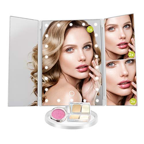 TAECOOOL Espejo de aumento para maquillaje con luces y pantalla táctil atenuación 3X 2X 1X grande LED portátil para maquillaje y afeitado de barba (color blanco)