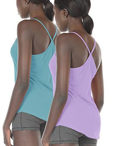 icyzone Damen Tank Top Yoga Trägertop Casual Camisole Oberteile 2er Pack (S, Aquamarine/Lilac)