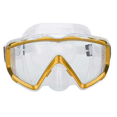 FECAMOS Gafas de natación, Juego de esnórquel, Vista panorámica panorámica, máscara de Buceo, Equipo de Buceo con Ejes de Ajuste giratorios 3D, para Hombres Adultos, Mujeres, jóvenes(Oro)