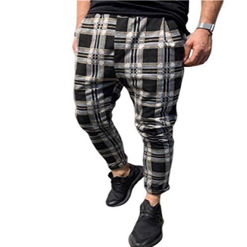 Katenyl Pantalones de chándal cónicos a Cuadros para Hombre, Ropa de Calle de Color de Contraste a la Moda, Pantalones Casuales de Todo fósforo, Pantalones de Primavera y otoño 3XL
