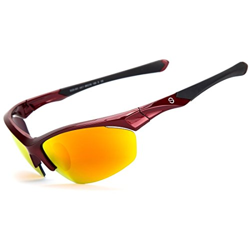 Shieldo Sports Mirrored Sunglasses For Men And Women Running Cycling Glasses, Mirrored Integrated Polarized Lens Unbreakable Frame Driving Eyeglasses Sport Safety Eyewear SQS001 (Red-Orange)