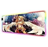 Alfombrilla De Ratón De Ordenador para Juegos Anime Saint Seiya RGB,Alfombrilla De Mesa Grande Iluminada para Pc con Retroiluminación L (700X400Mm)