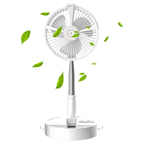Portable vertical fan, height-adjustable humidifier, foldable floor fan, 4-speed ultra-quiet rechargeable battery USB fan, with night light, suitable for office and bedroom