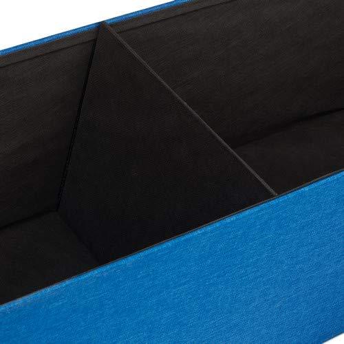 Relaxdays Faltbare Sitzbank XXL, Sitzcube mit Stauraum, Sitzwürfel aus Leinen, mit Deckel, HBT 38 x 114 x 38 cm, blau - 4