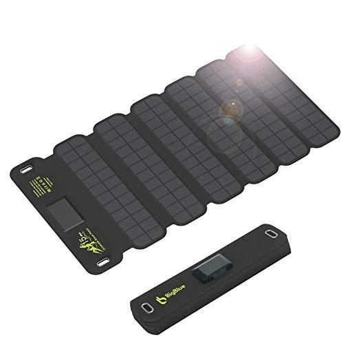 BigBlue 15W Ultra Léger Chargeur Solaire Portable, 2 USB Ports (5V/2.1A Chacun), Imperméable, Panneau Solaire Pliable et Randonnée pour iPhone, Galaxy S8/S7/S6, Xiaomi, Huawei etc.