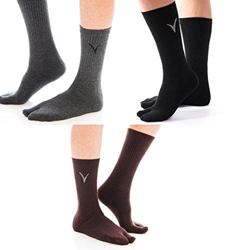 3 Pairs Tabi Big Toe Socks Athletic Flip-Flop Style Two Toe V-Toe Thicker Sports, Samarai Or Casual Great For Jatika Tabi, Sneakers Or Flip Flops