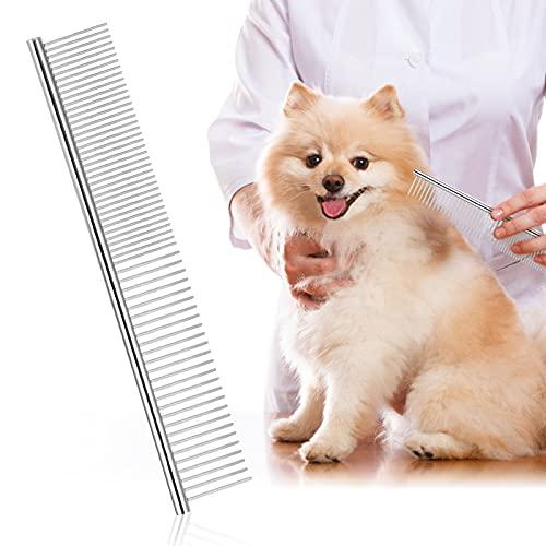 Peine para mascotas de acero inoxidable, Peine para Perro,Peine de aseo para mascotas para eliminar los enredos de gatos y perros, peinado,masaje,19 x 3 cm ⭐