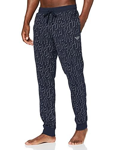 Emporio Armani Underwear Trousers All Over Logo Terry Pantalón Deporte, Diseño Marino, L para Hombre