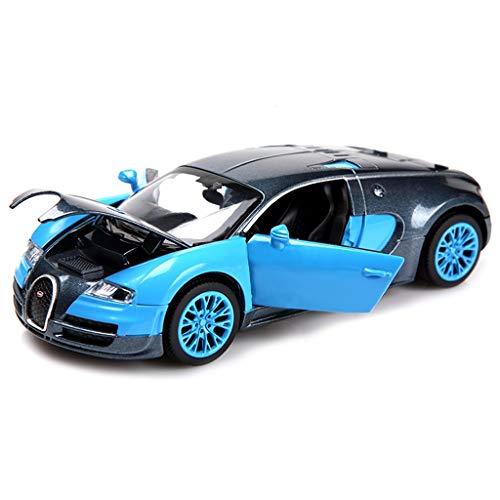 RENJUN Modello Auto Bugatti Veyron Modello 1:32 Simulazione pressofusione Lega Suono e Luce Tirare Indietro Auto Giocattolo 13.6x6x4 CM (Color : Blue)
