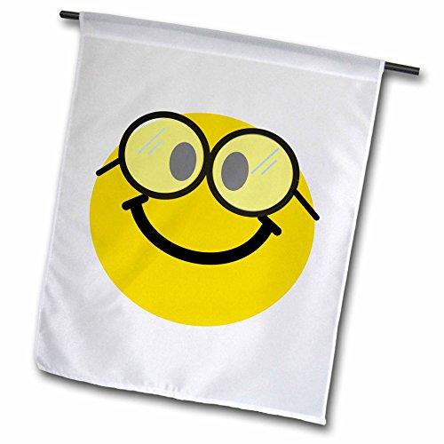 3dRose fl_113100_1 Geeky Smiley Gesicht Cute Geek Happy Nerd Gelb Smilie mit Brille Smiling Studious Cartoon Smile Gartenflagge, 30,5 x 45,7 cm