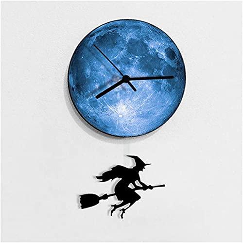 Reloj de Pared de Halloween, 30 cm PCShexe y Luna Reloj de Pared Creativo Material acrílico Material Impermeable Puntero de Metal Relojes Mudo, Negro