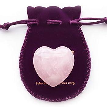 Polar Jade Heart Shaped Rose Quartz Puffy Heart Stone 45mm  1.8   for Chakra Energy Healing Reiki Meditation Massage and Decoration