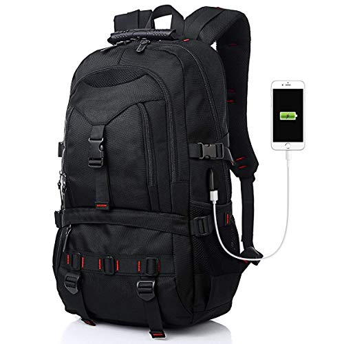 Laptop Backpack, Travel Backpack Contains Multi-Function Pockets,Stylish Anti-Theft School Bag with USB Charging Port Fits 17.3 Inch Laptop Comfort Pack for Men & Women –Black