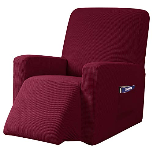 subrtex Recliner Chair Cover Stretch Recliner Slipcover Lazy Boy Covers for Furniture Protector Rocker Sofa Cover with Side Pocket (Recliner, Wine) -  SBTZHS008