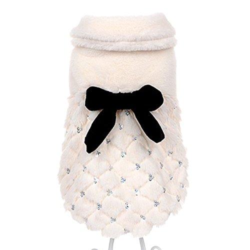 Muodu Haustier-Kleidung, elegant, luxuriös, für den Winter, für kleine Hunde und Katzen, mit Schleife