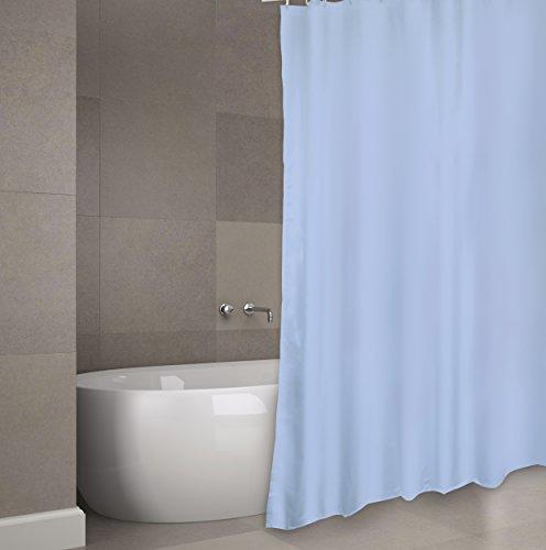 """MSV Cotexsa by Premium Anti-Schimmel Textil Duschvorhang - Anti-Bakteriell, waschbar, 100% wasserdicht, mit 12 Duschvorhangringen - Polyester, """"Uni"""" 180x200cm – Made in Spain - (Blau)"""