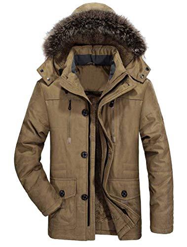 Mallimoda Herren Warme Winterjacke Parka Lang Wintermantel Mit Kunstfell Kapuze Outdoor Gefütterte Steppjacke Jacke Khaki XL