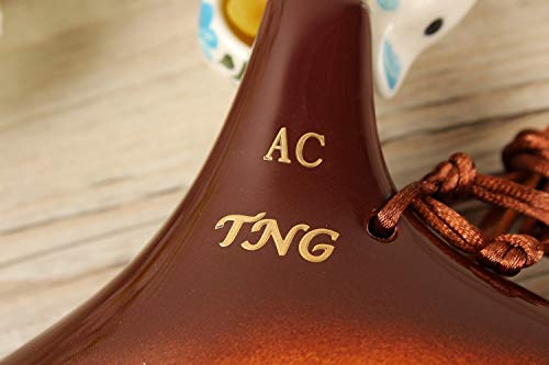 TNGオカリナ楽器シングル[12穴/アルト/窯変釉イエロー]高級C調AC(運指表付き)Ocarina管吹奏釉薬仕上げ黄色