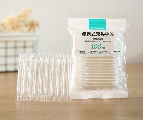 Wattestäbchen aus Bambus, tragbar, mit Wasser, einzeln verpackt für Reisen, Notfallpflege, Sanitär, 100 Stück
