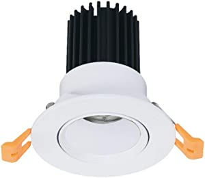 Wlnnes Black Living Room Lighting COB LED Recessed Down Light Bathroom Bedroom Recessed Anti-Glare Ceiling Light Lumen 900LM CRI 85 High Color Recessed Spot Light 3000K 4000K (Color : White-4000K)