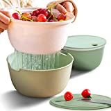 Citylife 2 Set Kitchen Colander Bowl Pasta Strainer Plastic Fruit Bowl Colanders with Lids 2.1 QT Dual-Layer Draining Bowl Vegetable Washing Basket