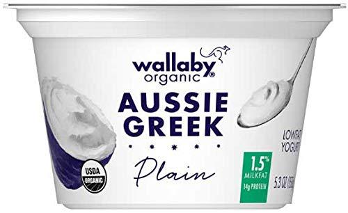 Wallaby Organic Plain Lowfat Greek Yogurt, 5.3 Ounce -- 12 per case.