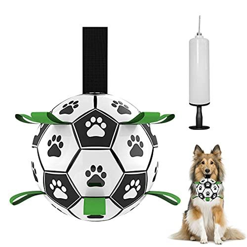 O-Kinee FúTbol para Perros, Bola Interactiva para Perros, Pelota de FúTbol para Perros con PestañAs de Agarre, Juguete Interactivo para Perros, Ideal Juguete de Agua para Perros
