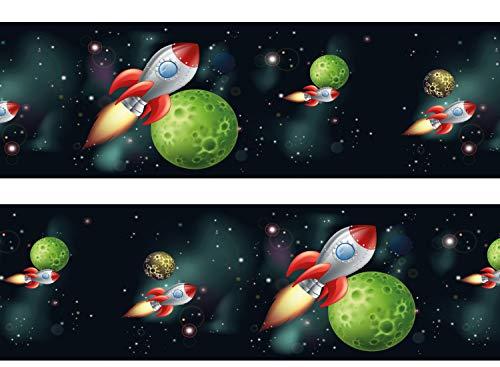wandmotiv24 Bordüre Rakete im Weltraum 260cm Breite - Vlies Borte Tapetenbordüre Bordüren Borde Wandborde Kinder Weltall Space M0010