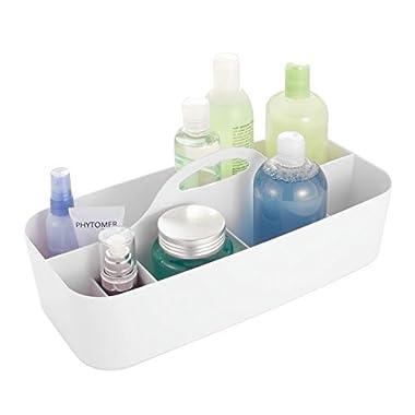 mDesign Bathroom Shower Caddy Tote for Shampoo, Soap, Razors - Large, White