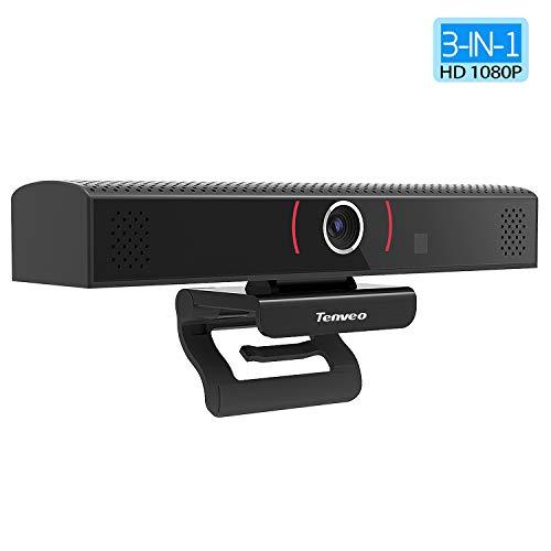 Tenveo 3-in-1 USB Webcam mit Lautsprecher und Mikrofon, 1080P Full HD PC/Laptop Kamera für Skype/Zoom Videokonferenzen und YouTube/Twitch/OBS Live Streaming (TEVO-VA1000)