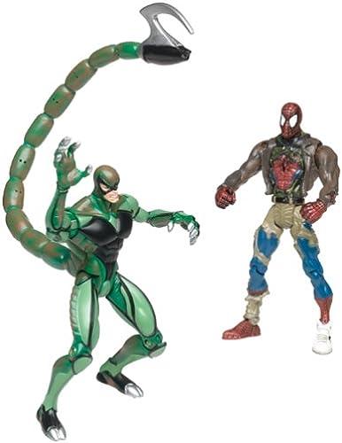 Spiderhomme  Bataille ravagé Spiderhomme Vs Scorpion  Exclusif avec mouveHommest Trading voitured (Spiderhomme Classics) Super Rare.