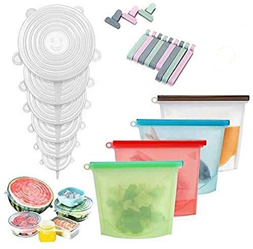 Cozywind Juego de 6pcs Tapas de Silicona Elásticas 4pcs Bolsas de Silicona Reutilizables 12pcs Hermeticas para Almacenamiento de Alimentos,A Prueba de Fugas,Libre de BPA