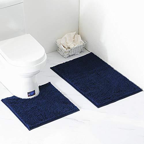 ele ELEOPTION rutschfeste Badematte Set,2-teilig Badteppich 50x80cm WC-Vorleger 50×50cm aus Mikrofaser Chenille,Maschinenwaschbar Teppich für Badezimmer (Dunkelblau)