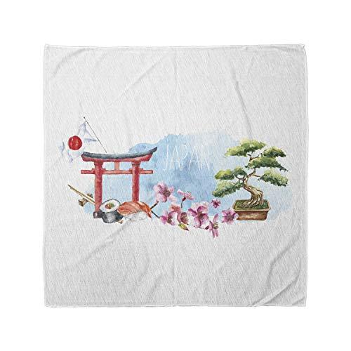 Lunarable Unisex Bandana, Japan Torii Gate Bonsai Tree Cherry, Multicolor