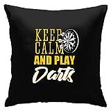 Keep Calm and Play Dardos Funda de Almohada Cuadrada Sofá para el hogar Decorativo 45X45cm Ultra Suave Cómodo