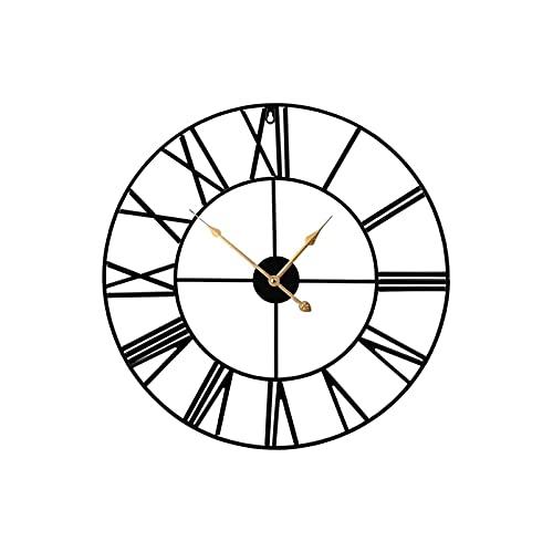 DIBAO Relojes de Pared en la Sala de Estar y Oficina en Reloj de Pared Adulta Unisex de 40 cm para Dormitorio y Cocina Tranquilo Reloj de Pared Negro-silencioso Romano Reloj Retro Reloj Decorativo