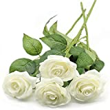 Yyhmkb 4Pcs Flores De Seda De Rosas Artificiales, Ramo De Flores De Tacto Real De Rosa Falsa De Un Solo Tallo para Fiesta, Boda, Hogar, Decoración De Hotel, Blanco