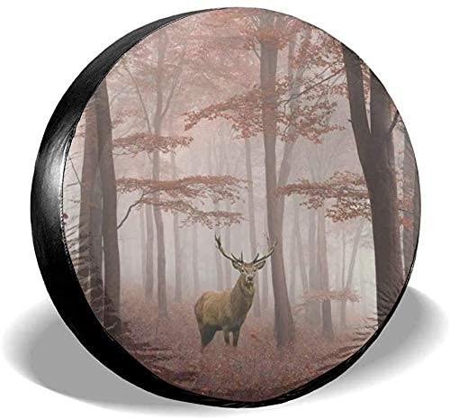 Lewiuzr Autumn Forest Fall Wildlife Deers Cubierta Impermeable para llanta de Repuesto para Ajuste Universal