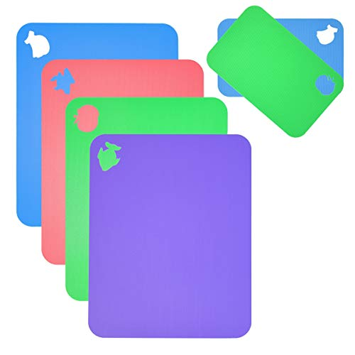 Flexible Cutting Board for Kitchen 14.5X11 Thick 0.7mm Set of 6 Flexible Cutting Board Mats With Food Icons Assorted Colors...