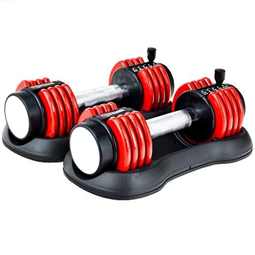 Mancuernas Equipo De Fitness Azules Y Rojas Peso Ajustable Juego Ajuste Rápido Unisex Barra Gruesa Color : Red, Size : (2.5~12.5LB)*2
