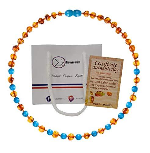 Collar de Autentico Ambar Baltico y Azul Turquesa Perlas para Bebe - Piedras 100 % Naturales - Producto Certificado en Laboratorio - Collar de 32 cm - Regalo para Bebe